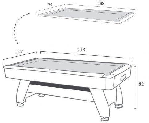 mesa de billar de siete pies